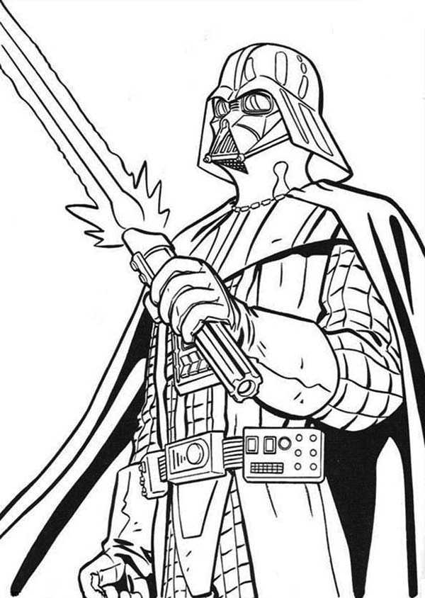 The Terrifying Darth Vader With Light Saber In Star Wars Coloring Page Download Print Online Colori Star Wars Coloring Book Star Wars Colors Coloring Books