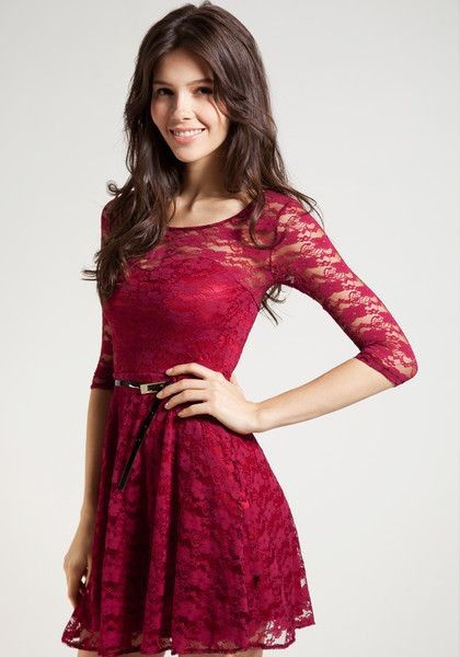 Mesh Heart Lace Dress in Red. Pretty and playful.
