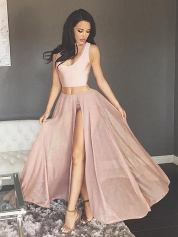 2018 Two Piece Prom Dress Modest Beautiful Cheap Long Prom Dress ...