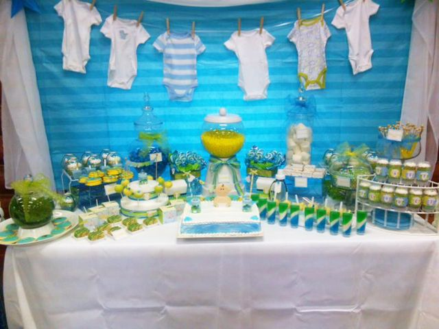 Onesie Baby Shower Party Ideas Photo 3 Of 14 Baby Shower Onesie Baby Boy Shower Baby Shower Themes