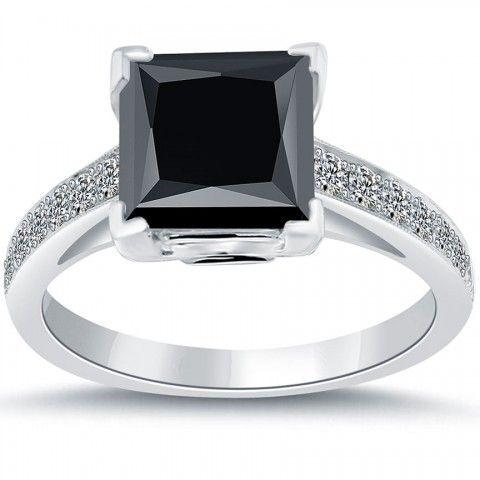 4.30 Carat Certified Princess Cut Black Diamond Engagement Ring 18k White Gold - Black Diamond Engagement Rings - Engagement - Lioridiamonds.com