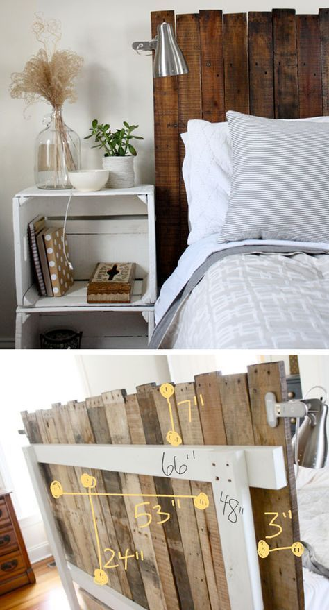 homedecoration diy #homedecor DIY Stained Pallet Headboard.