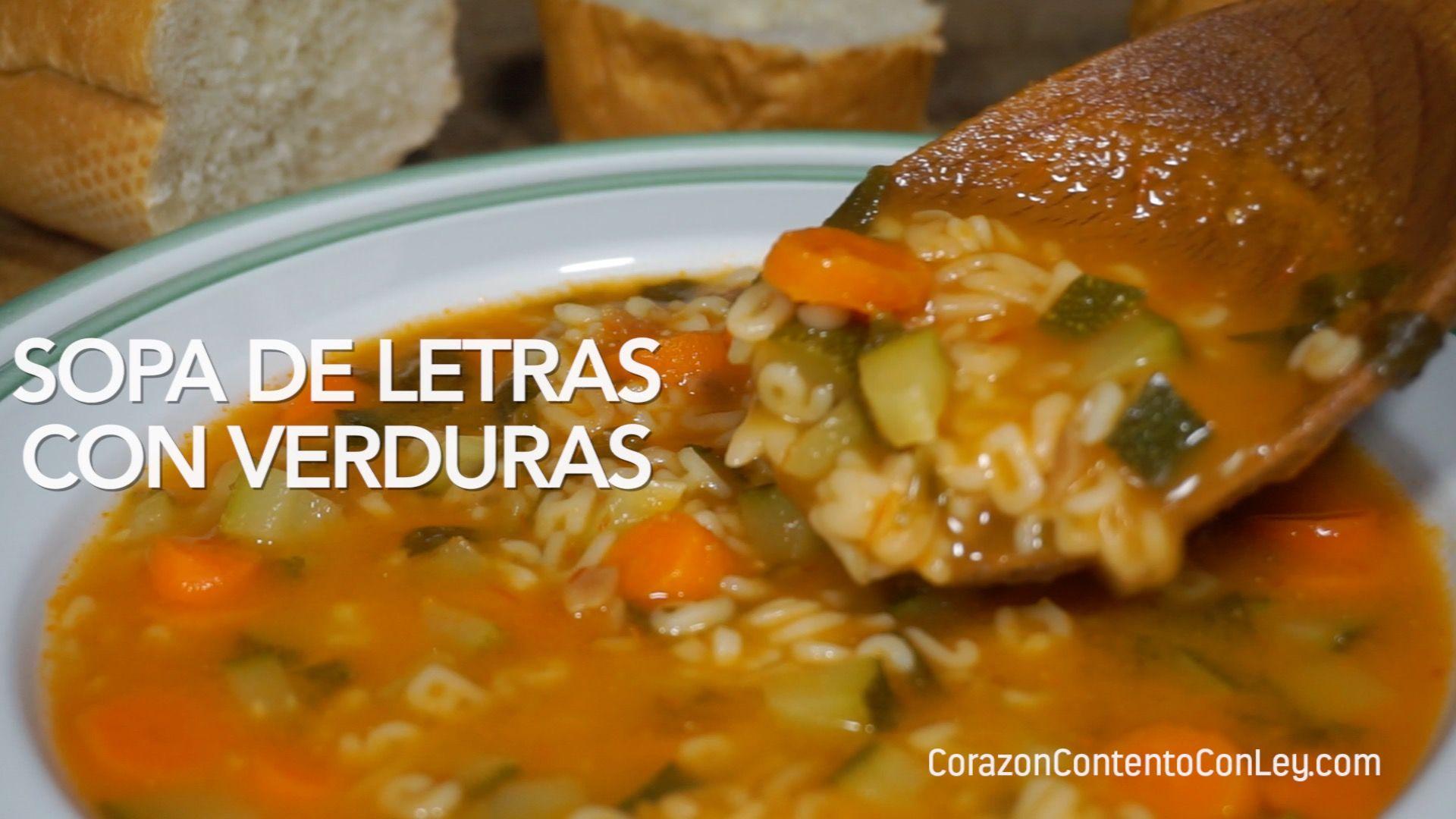 Receta de Sopa de Letras con Verduras. INGREDIENTES – 200 gramos de pasta  de letras