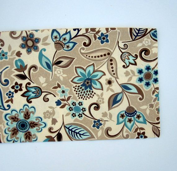 VALLEY Valance Curtains Brown Tan Blue Teal Flowers By Bananabunch