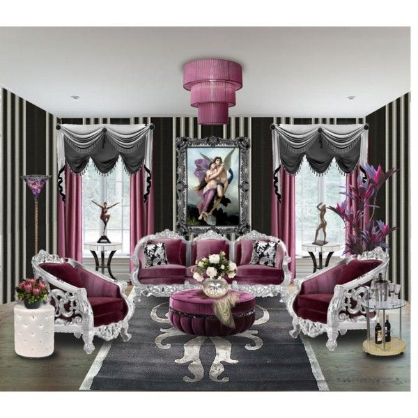 Living Room 20 Purple Black And Silver By Ve Cher On Polyvore Boho Living Room Home Decor Black And Silver Living Room