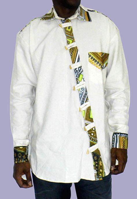 chemise homme en lin et en tissu pagne africain inspiration mode homme africain pinterest. Black Bedroom Furniture Sets. Home Design Ideas