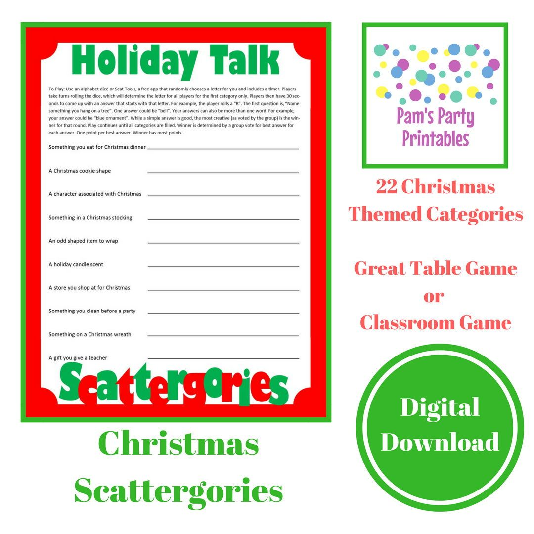 Christmas Scattergories! Great table game for your holiday Christmas ...
