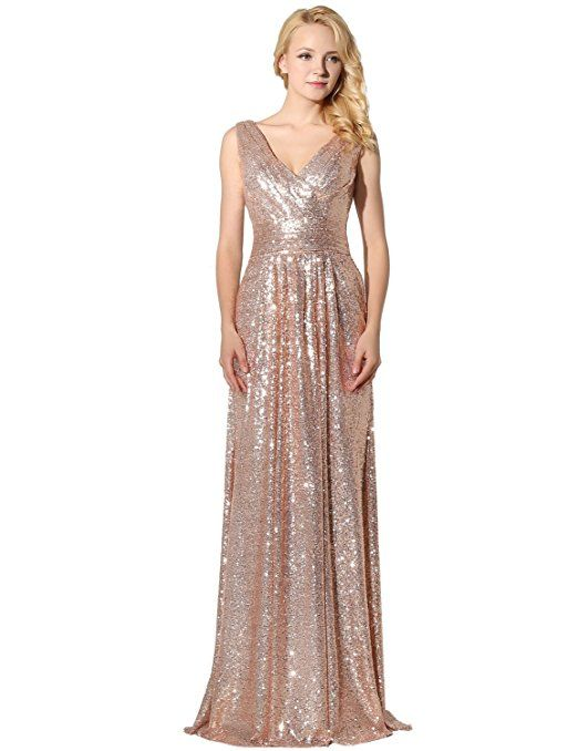 Clearbridal Womens Sequin Evening Dress Uk 6 Z Rose Gold