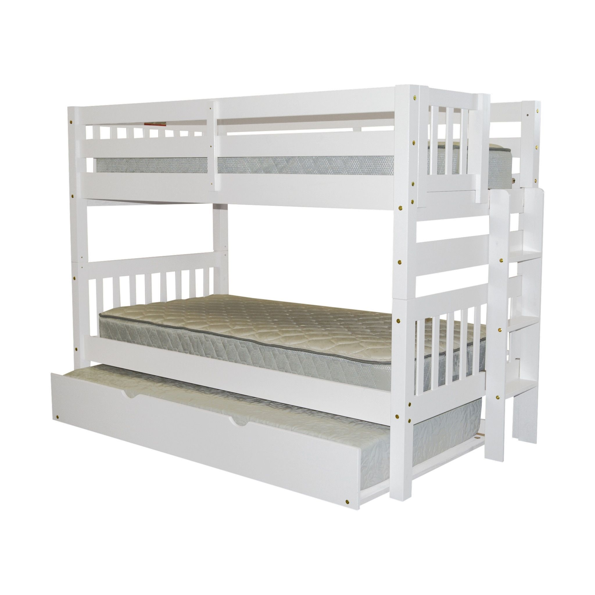 Boys' twin loft bed with storage steps  Bedz King White Wood TwinoverTwin Bunk Bed with End Ladder and