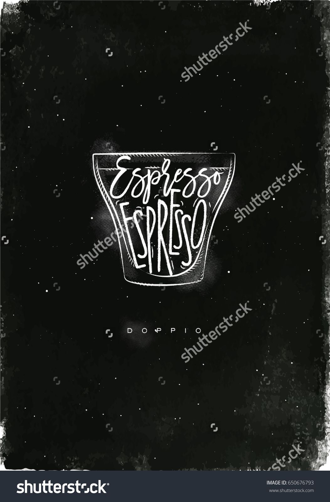 Doppio Cup Lettering Espresso In Vintage Graphic Style Drawing With Chalk On Chalkboard Background