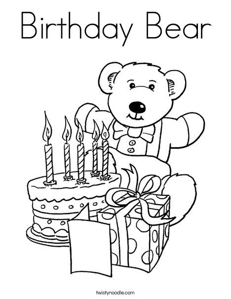 Birthday Bear Coloring Page Twisty Noodle Happy Birthday