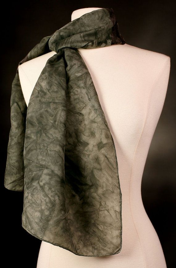 Charcoal Gray Silk Scarf Hand Painted Neck or Head by VJRSCARVES, $40.00