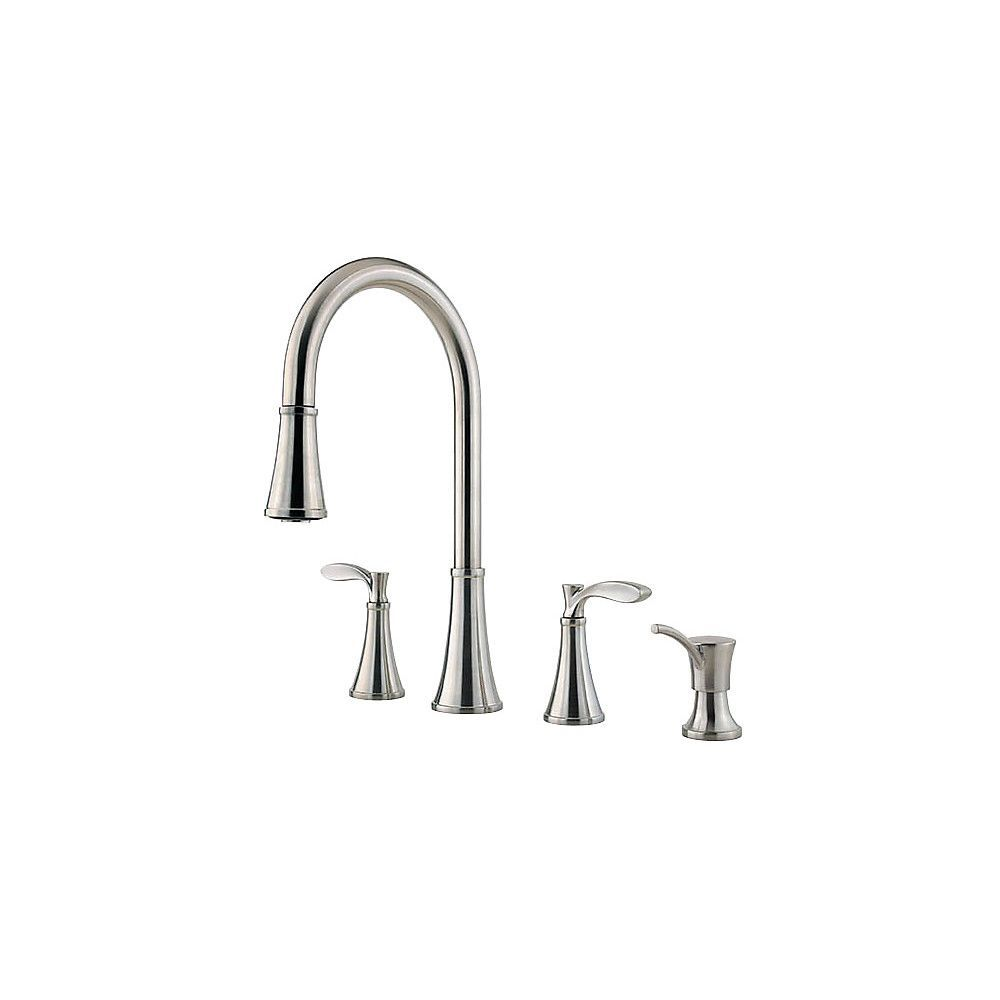 Peteluma 2 Handle 4 Hole Pull Down Kitchen Faucet With Soap