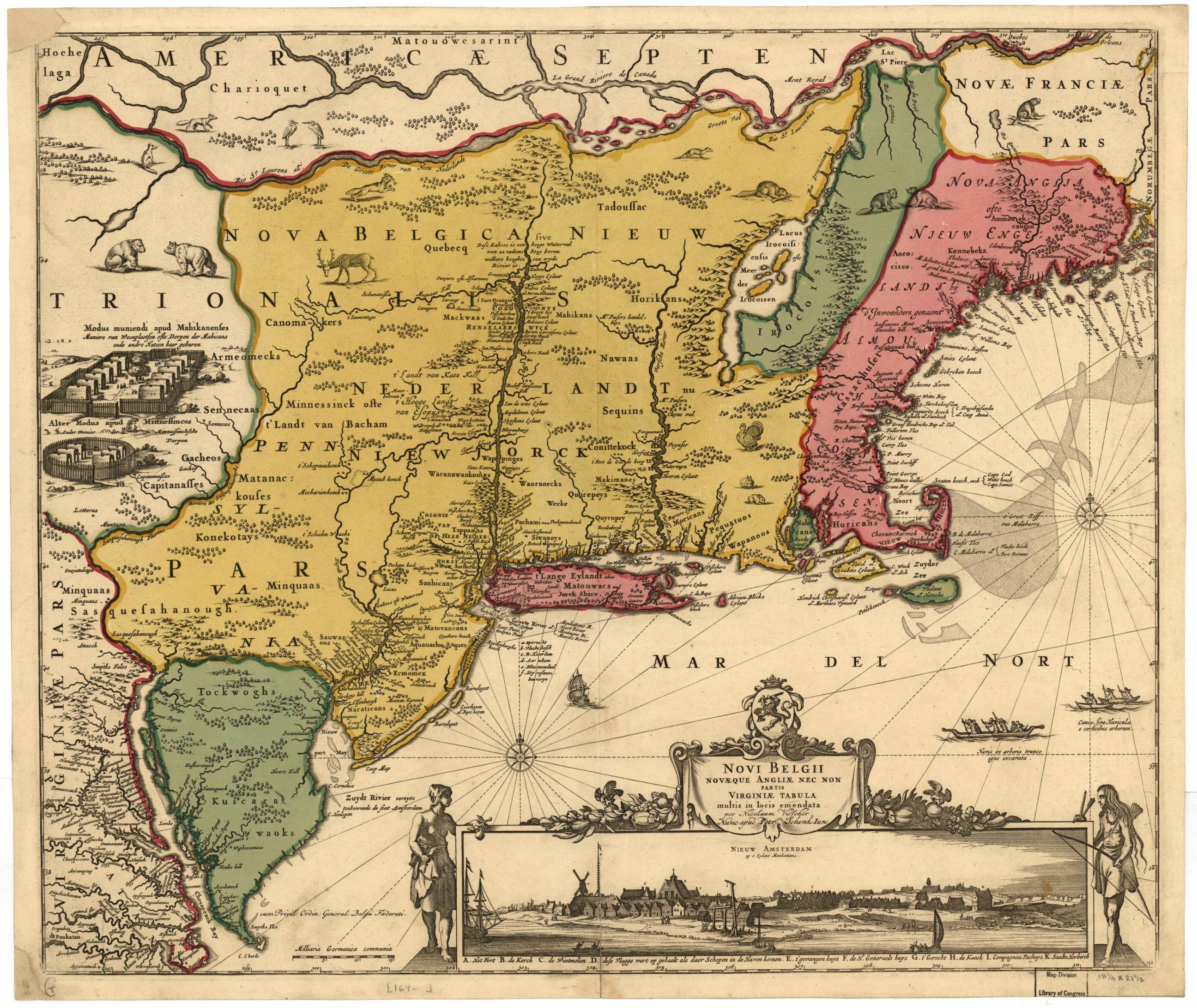 MapNovi Belgii Novæque Angliæ  RPG Vieilles Cartes Old - Early maps of america