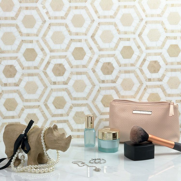 Hexagon Fliesen Idee Muster Mosaik Steinchen Beige Weiß
