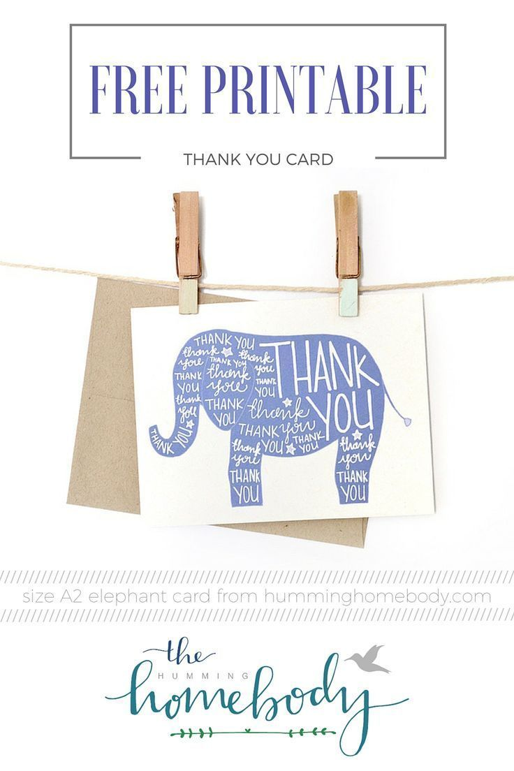 Printable Elephant Thank You Card Printables The Best Downloads