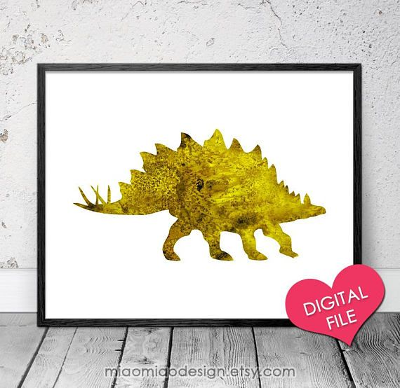 Dinosaur Wall Art PRINTABLE Dinosaur Art Yellow Stegosaurus | Art ...