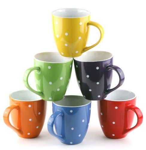 Set Of 6 Large Sized 16 Ounce Ceramic Coffee Mugs Polka Dot By Francois Et Mimi