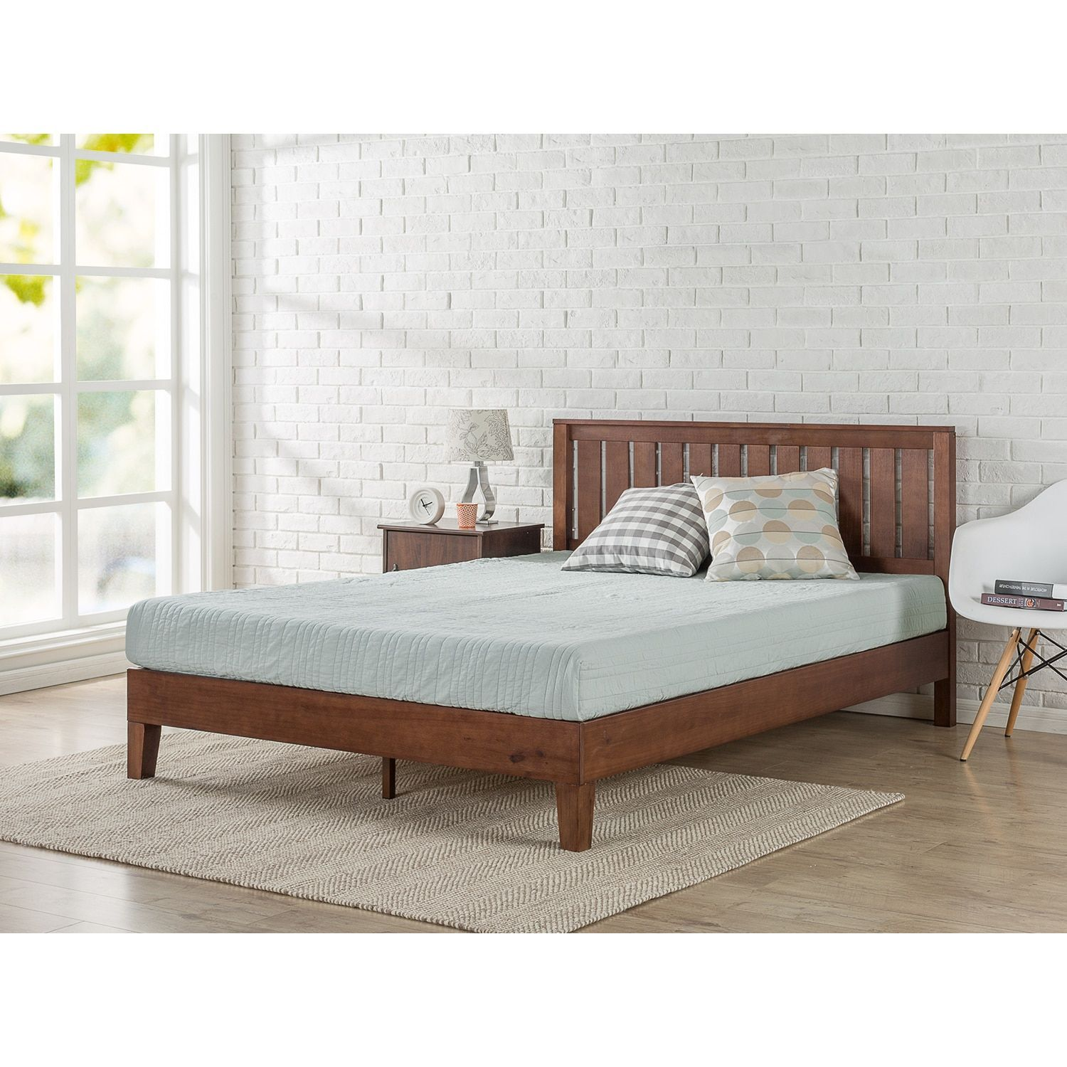Priage By Zinus Deluxe Antique Espresso Wood Platform Bed With Headboard Twin Headboards For Beds Wood Platform
