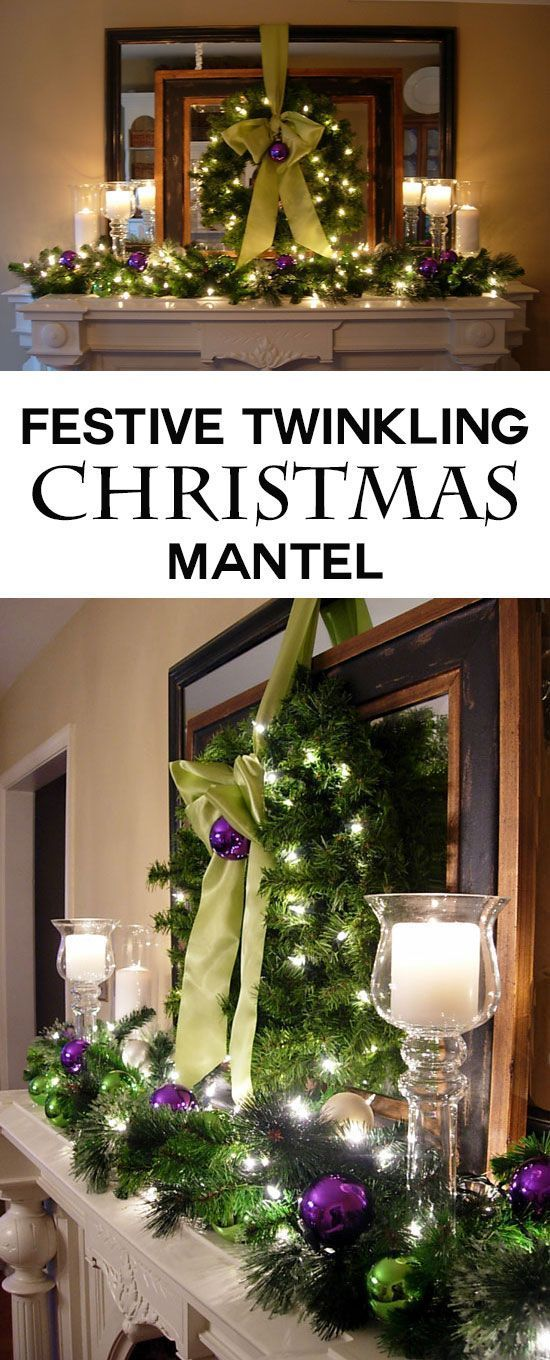 Christmas mantel decorating idea that has twinkling lights