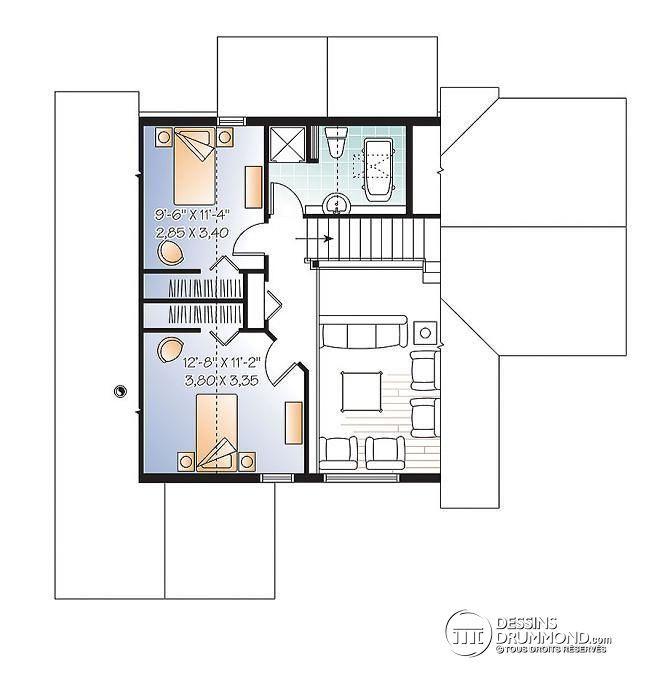 Plan de Étage Maison style chalet panoramique avec chambre des