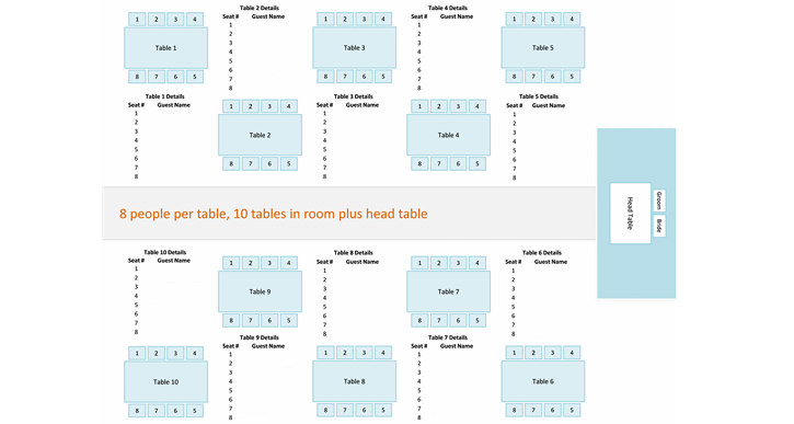 Seating Chart Wedding Template Reception Table Layout