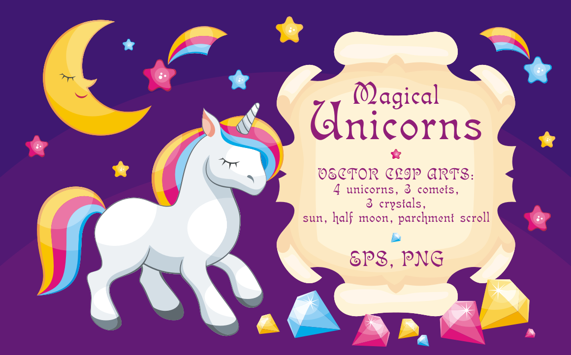 Magical Unicorns Illustrations Graphic By Olga Belova Creative Fabrica Unicorn Illustration Unicorns Vector Illustration