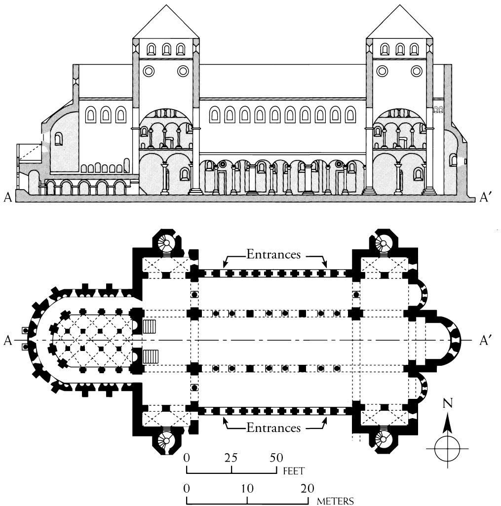 ottonian art plan of the church of st michael hildesheim 900