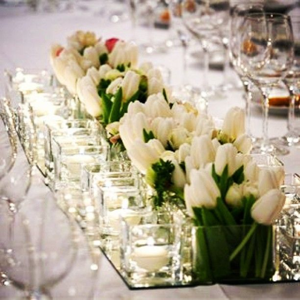 Spring Flowers For Wedding Centerpieces: @tuscandream1s Photo: White Tulips Centerpiece For #spring