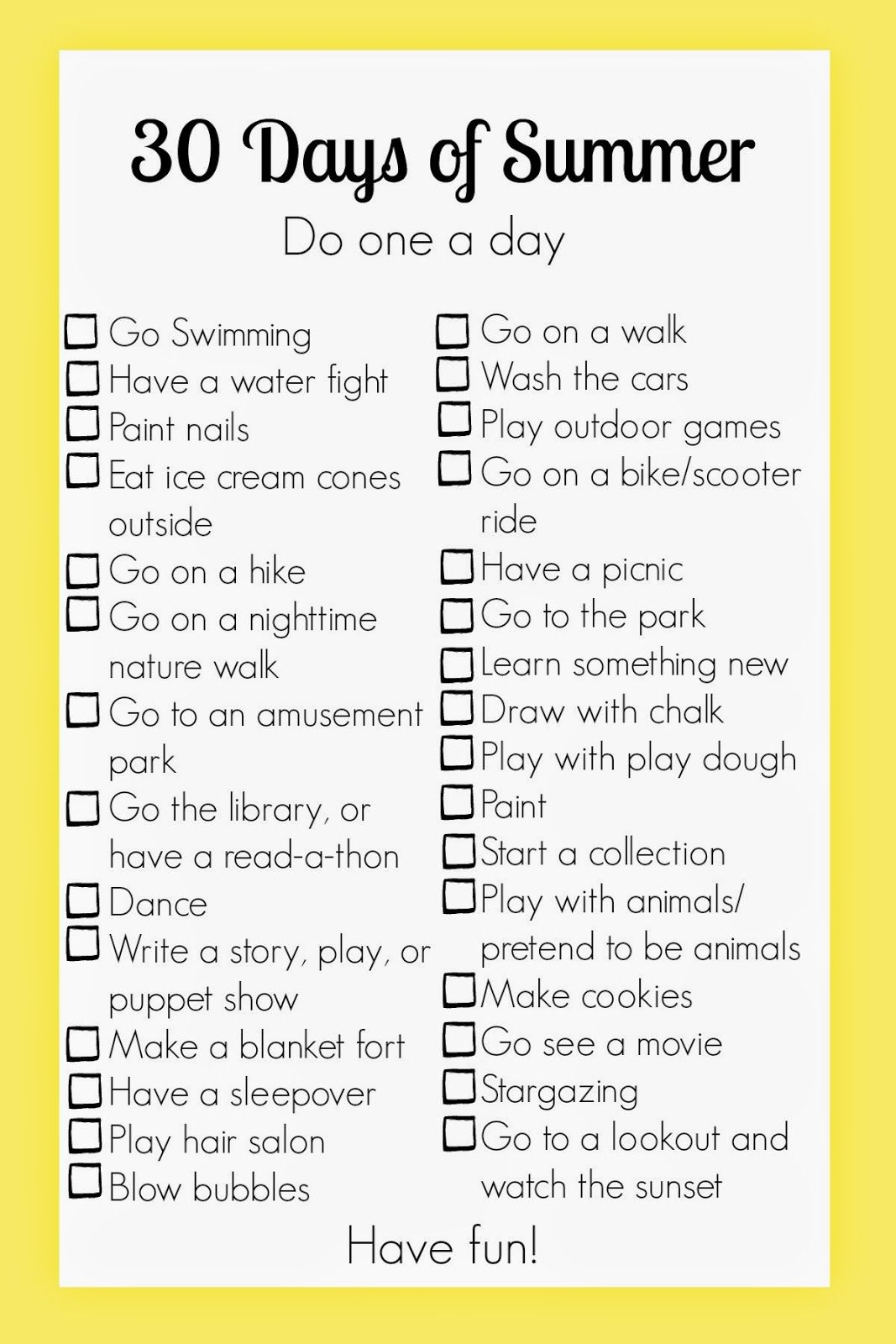 Only 30 Days Left Of Summer Here S A Cute Summer Activity Checklist