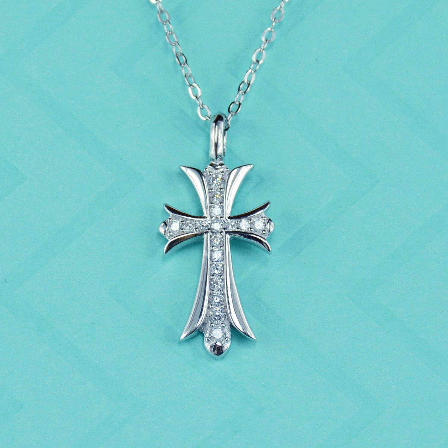 Simulated Diamond Cross Necklace In Sterling Silver