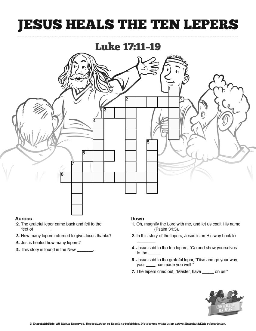 Luke 17 Ten Lepers Sunday School Crossword Puzzles Sunday School