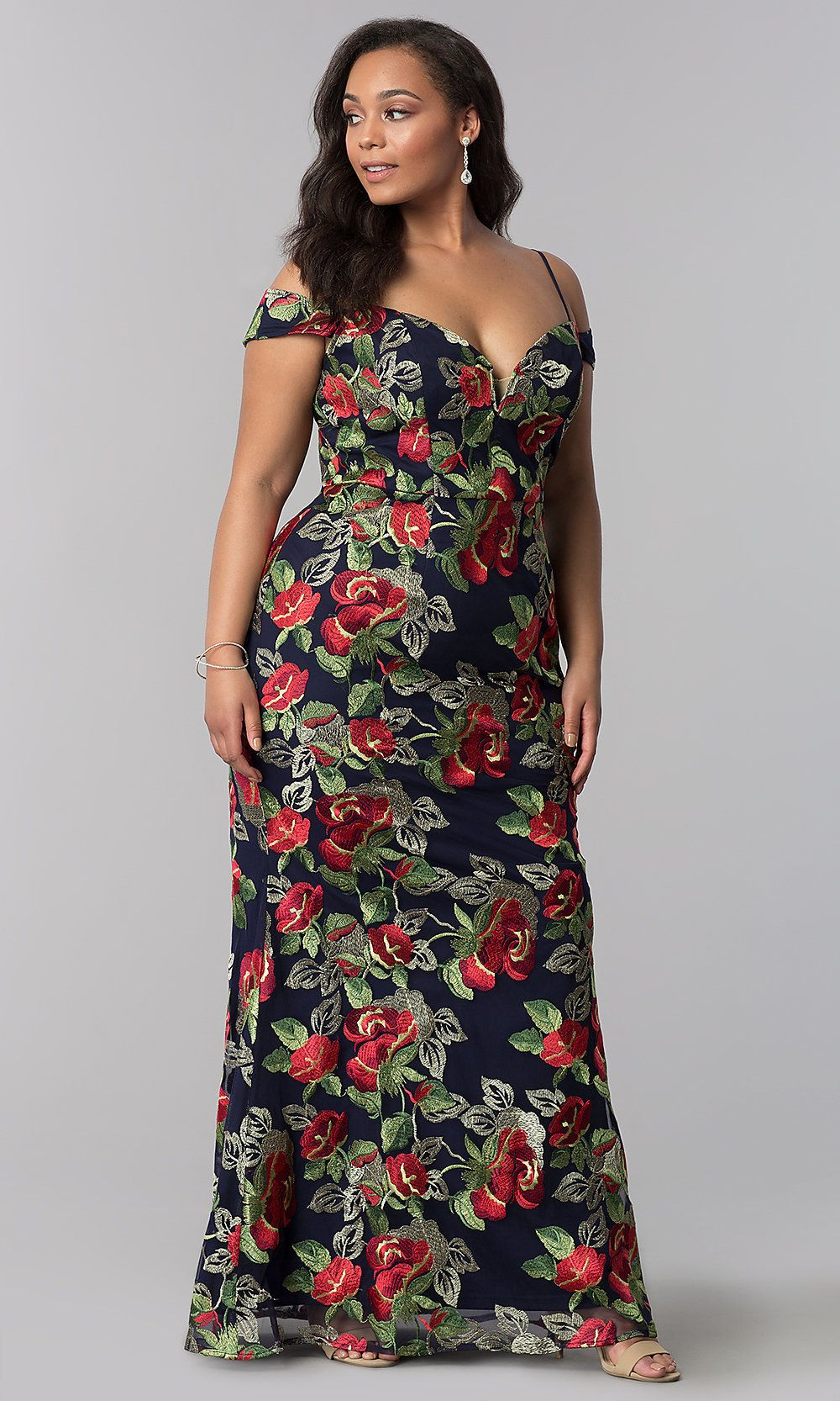 Long floralembroidered plus formal evening dress in clothes