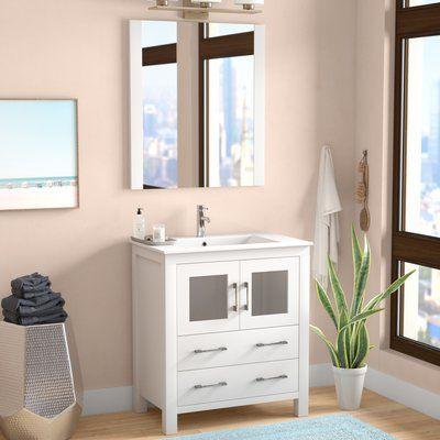 Mercury row cartagena 30 single bathroom vanity set with ceramic top and mirror base finish