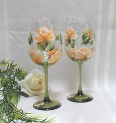 Set of 2 Hand Painted Wine Glasses - Orange Roses with Green Stems by SilkEleganceFlorals on