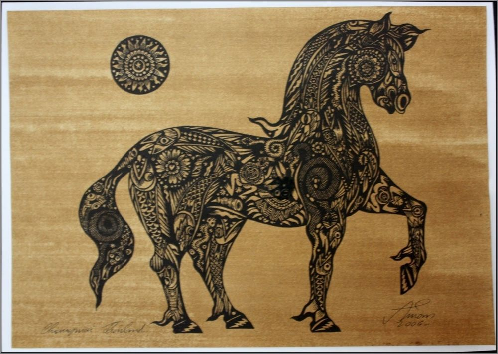 Thai traditional art of Horse by silkscreen printing on sepia paper_1 #Asian