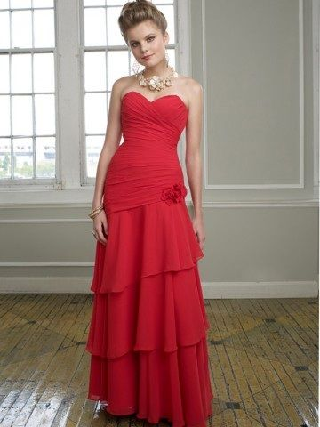 A-line Sweetheart Hand-Made Flower Sleeveless Floor-length Chiffon Red  Bridesmaid Dress 565c7426ed9