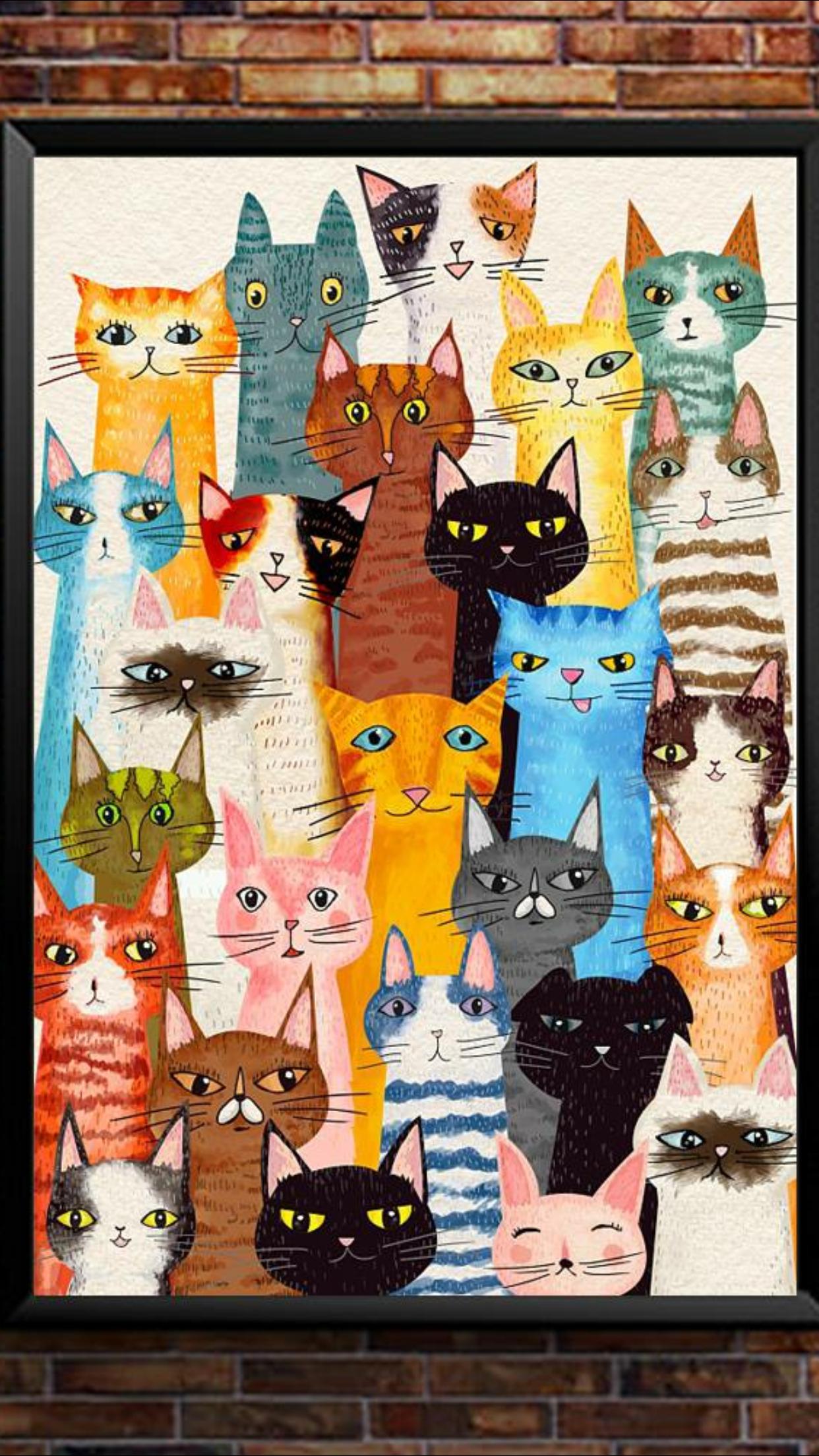 Katzen Cat Painting Cat Artwork Cat Quilt