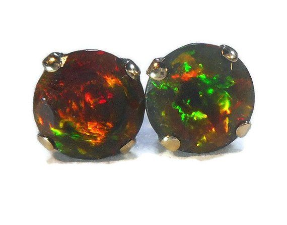 a224cfd60 Black Fire Opal Stud Earrings|6mm Black Opal Stud|Real Fire Opal Studs|18K  Solid Gold Post,Natural Opal Studs,October Birthstone