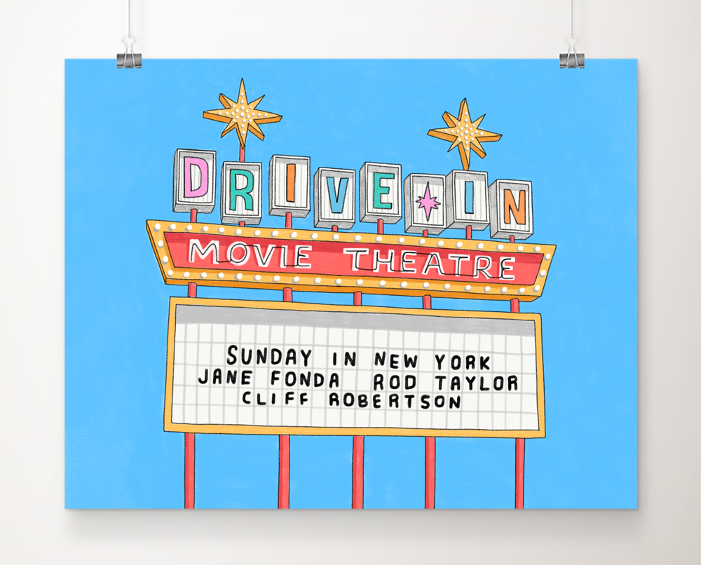 Custom Drive In Movie Marquee Art Print Marquee Art Drive In Movie Movie Marquee