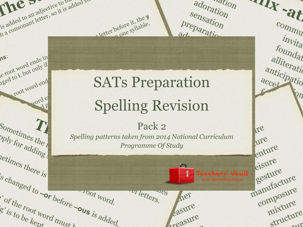 Y6 Sats Preparation Spelling Revision 2