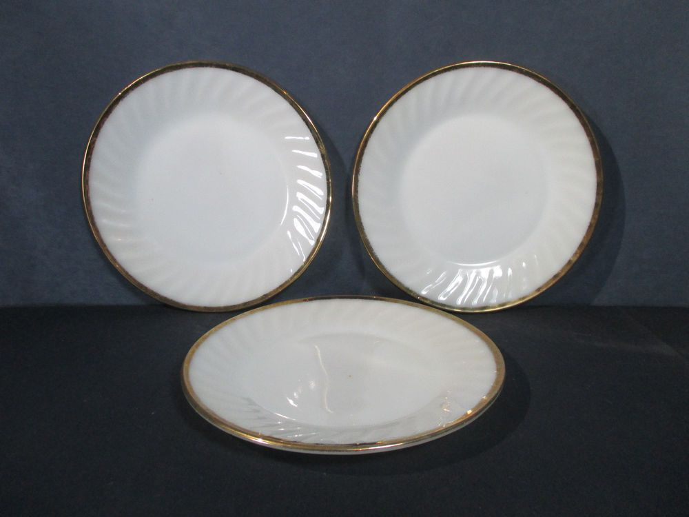 Hocking Petalware Hocking Swirl Plate Fire King Swirl Vintage Petalware Hocking Hocking Gold Trim Swirl White Vintage Anchor Hocking
