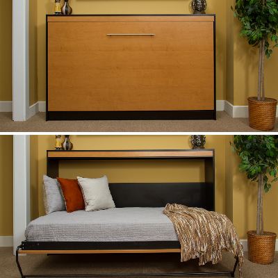 Here's a horizontal Murphy bed, which folds sideways into a single sleeper. It also comes in full and queen models for two. (Murphy Beds Direct)