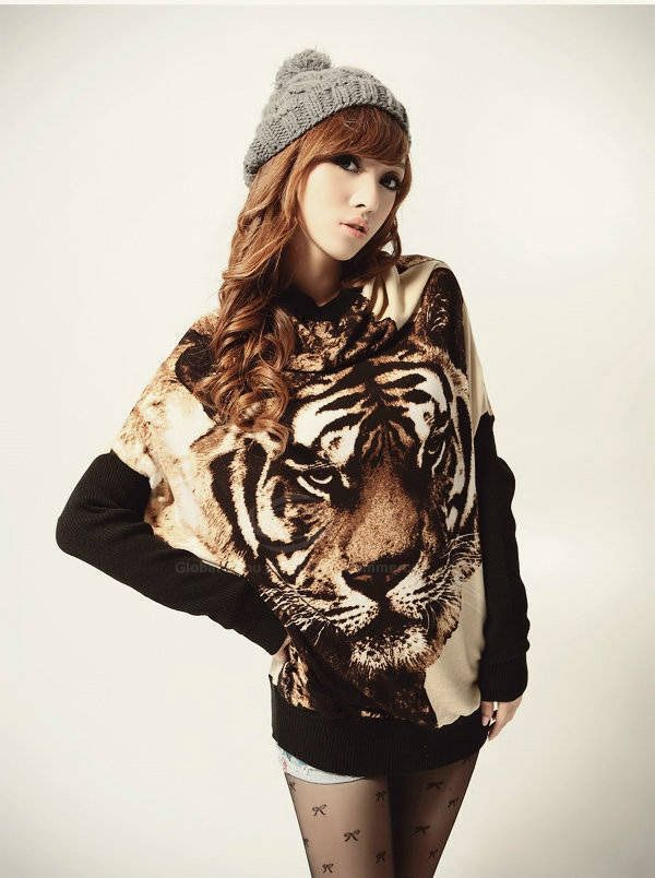 99c32b9a0 Casual Style Scoop Neck Tiger Printed Batwing Sleeve Knitting ...