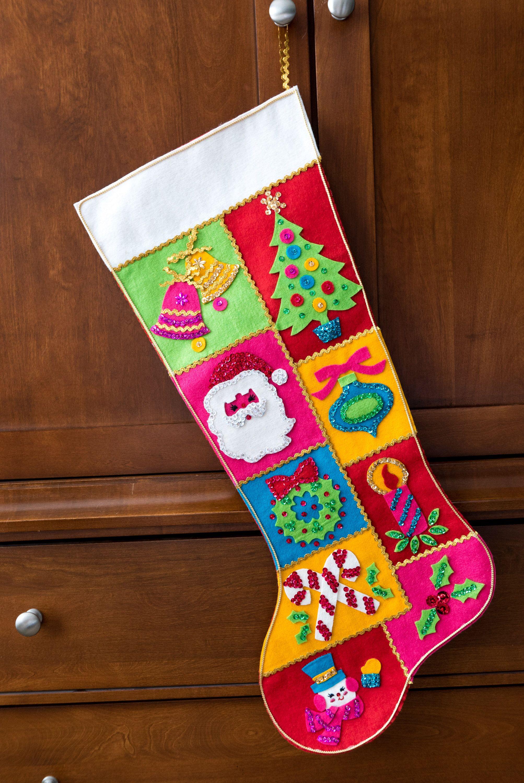 Completed Vintage Bucilla Sequin and Felt Jumbo Christmas Stocking ...