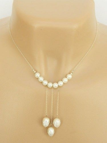 Bridal Necklace Glass Pearls With Swarovski Crystals Silver