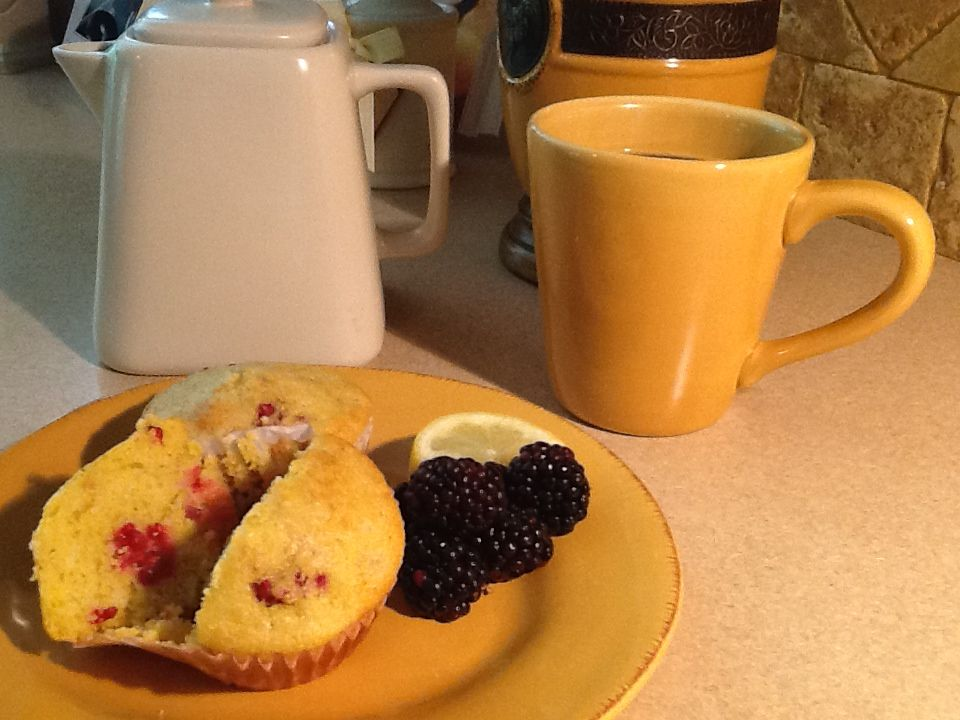 Blackberry Lemon Corn Muffins     Recipe   1 c. yellow cornmeal 3/4 c. almond flour 1/4 c. raw sugar 3 tsp. baking powder 1 tsp. salt 1/3 c. extra virgin olive oil 2/3 c. Greek yogurt 4-5 tbs. fresh lemon juice the zest of 1/2 large lemon one egg and one egg white Mix ingredients then fold in the berries. Bake at 400 degrees for 20-25 minutes.