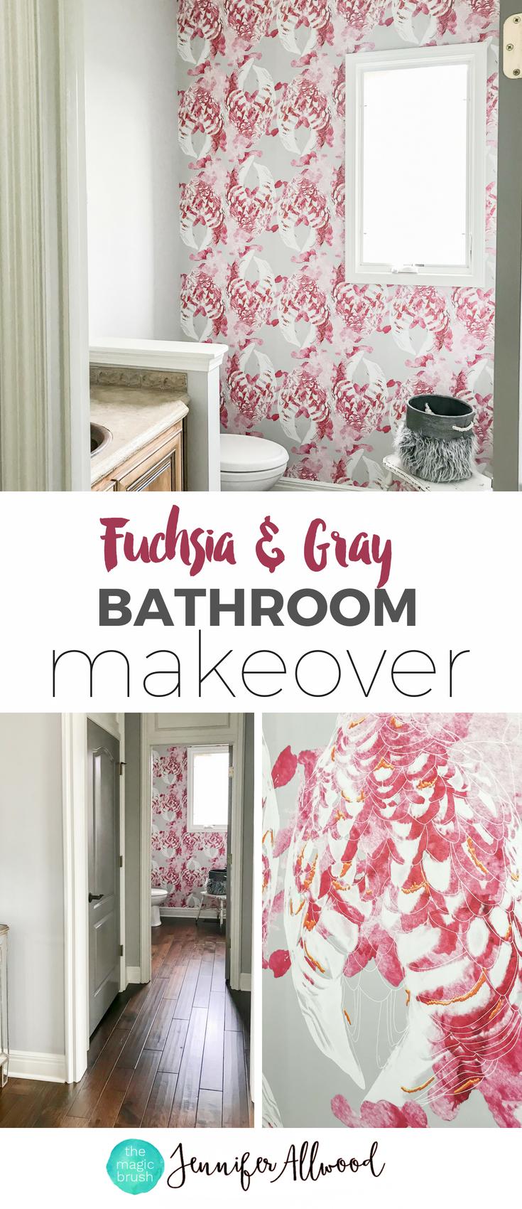 Tree Design Wallpaper Living Room: Fuchsia And Gray Bathroom Wallpaper Ideas By Jennifer