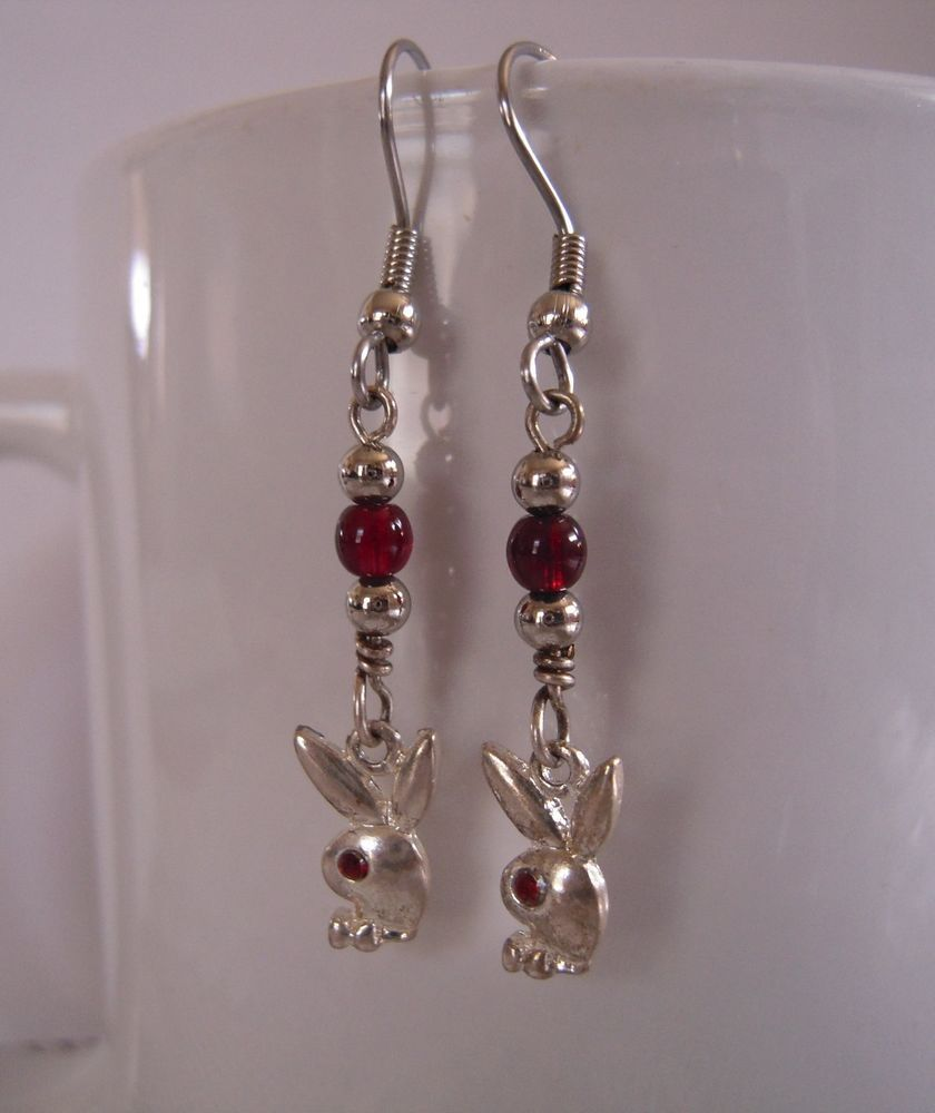 Charming Playboy Bunny Earrings Handcrafted Dangly Silver Tone Charms #MDHcrafts #Dangle
