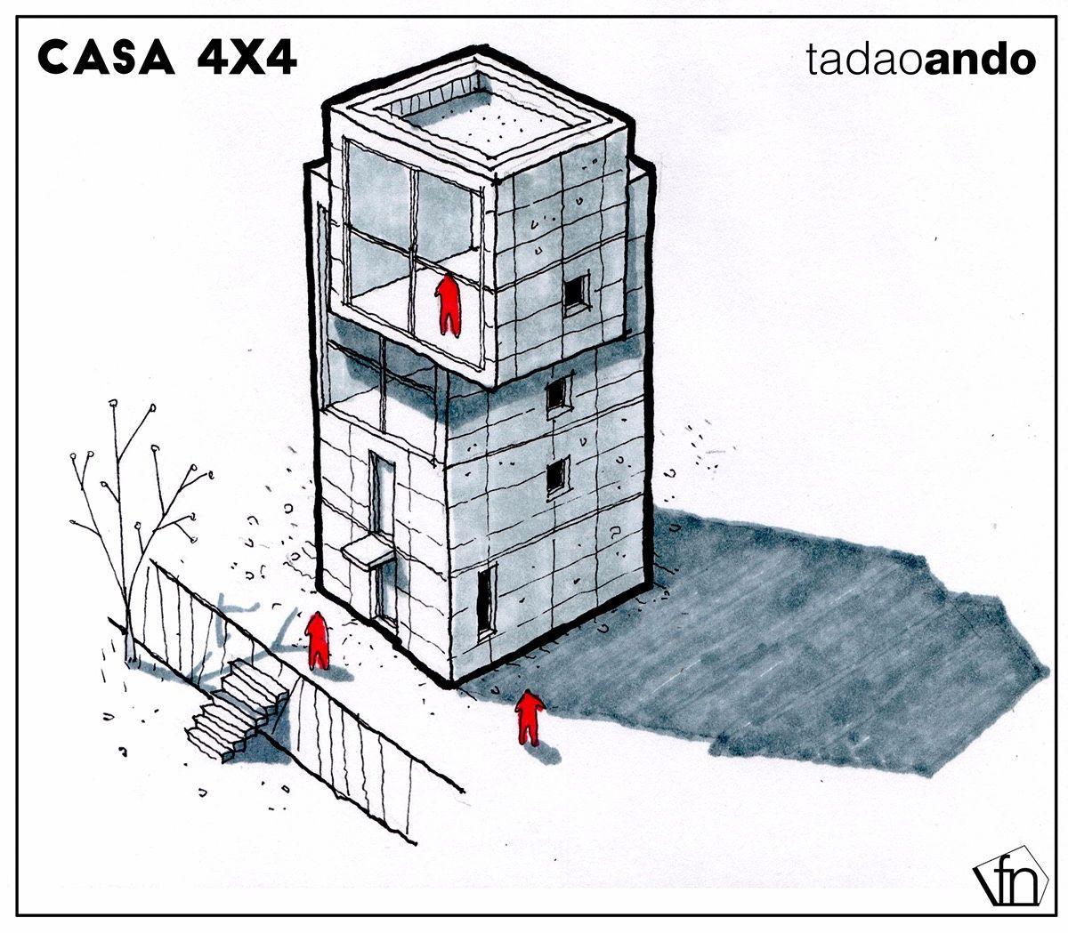 Surrealist illustrations casa 4x4 tadao ando for Casa moderna 4x4